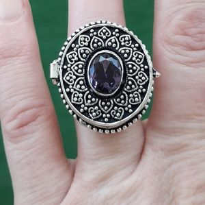 New Amethyst Poison Silver Ring. Size 6.75